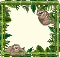 leere tropische Blätter Rahmenfahne mit Faultierkarikaturfigur vektor