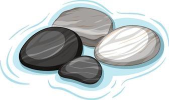 Gruppe von schwarzen und weißen Steinen auf Wasser auf weißem Hintergrund vektor