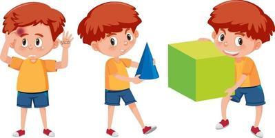 uppsättning av en pojke som håller olika matematiska verktyg vektor