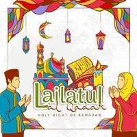 handritad ramadan kareem illustration med färgglad islamisk prydnad vektor