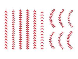 rotes Baseball-Nähset vektor