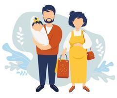 lycklig familj platt vektor. en gravid kvinna i en gul klänning håller papperspåsar från affären i handen. bredvid henne står en man i hennes armar med en nyfödd dotter emot. vektor illustration