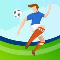 Moderner minimalistischer Frankreich-Fußball-Spieler, der einen Ball mit Steigungshintergrundvektor Illustration führt