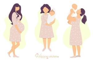 Vektorsatz von Mutterschaft und Schwangerschaft. glückliche schwangere Frau, die ihren Bauch mit ihren Händen streichelt, und niedliches glückliches om mit einem neugeborenen Baby in ihren Armen. flache Illustration. isoliert vektor