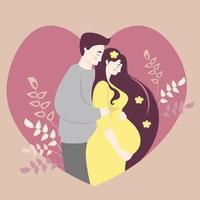 Mutterschaft und Familie. glückliche schwangere Frau in einem gelben Kleid umarmt ihren Bauch mit ihren Händen und neben einem Mann. auf dem Hintergrund des Herzens mit einem Dekor von Zweigen und Pflanzen. Vektorillustration