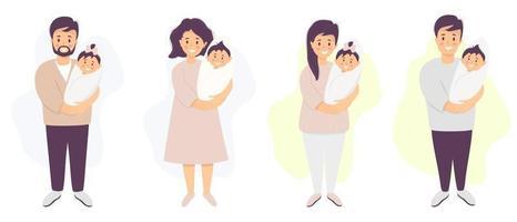 glückliche Eltern mit einem Baby. Ein Mann und eine Frau stehen und halten ihren neugeborenen Sohn und ihre neugeborene Tochter. Vektorillustration. Satz von Zeichen. Flache Illustration für Design, Dekoration, Druck und Postkarten vektor