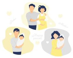 glücklicher Familien-Flachvektorsatz. Ehemann mit einer schwangeren Frau in gelben Kleidern, glückliche Eltern - Vater und Mutter mit einem neugeborenen Baby in den Armen. Vektorillustration. isoliert. flache Illustration vektor