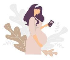 moderskap. glad gravid kvinna med en mobiltelefon i handen kramar försiktigt hennes mage. står mot bakgrund av dekor från tropiska löv. vektor illustration. för design, tryck, dekoration