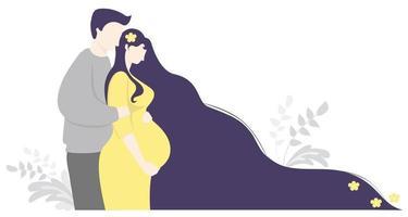 moderskap och familj. glad gravid kvinna med blommor i långt hår i en gul klänning kramar magen. en man står bredvid henne och kramar henne försiktigt. vektor illustration. söt dekorativ horisontell banner