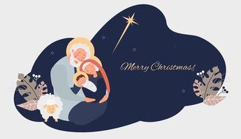 Fröhliche Weihnachten. Geburt des Erlösers Christus. Jungfrau Maria, Joseph und Baby Jesus, der Stern von Bethlehem und Schafen auf blauem Hintergrund mit tropischen Blättern, Dekor und Glückwünschen. Vektorillustration vektor