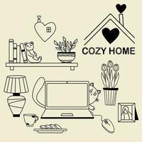 gemütliches zu Hause. eine Reihe von Kritzeleien - eine Katze, die hinter einem Laptop hervorschaut, ein Bücherregal und ein Teddybär, ein Spielzeug, Blumentöpfe und Tulpen, eine Tischlampe und eine Tasse mit Keksen und einem Herzlogo. Vektor, Umriss vektor