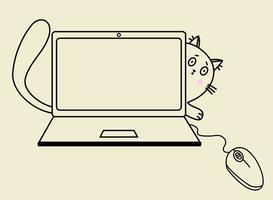 gemütliches zu Hause. Die verängstigte Katze schaut hinter dem Laptop hervor und greift mit der Pfote nach der Maus. Vektorumriss, schwarze Linie. Illustration für Druck, Design und Dekor vektor