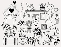 gemütliches zu Hause. Satz Kritzeleien - eine Katze, die hinter einer Vase hervorschaut, eine Katze, die auf einem Kissen schläft, ein Bücherregal und ein Teddybär, ein Sessel mit einer Decke, Blumentöpfen, Lampe und Keksen. Vektor, Umriss vektor