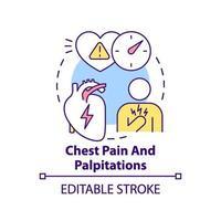 bröstsmärta och hjärtklappning ikon
