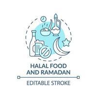 halal mat och ramadan turkos koncept ikon vektor