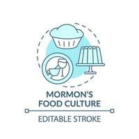 mormonische Esskultur türkisfarbene Konzeptikone vektor