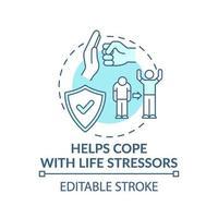 hilft mit Lebensstressoren Türkis Konzept Symbol zu bewältigen vektor