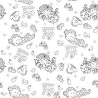 sömlösa mönster. söt baby i pyjamas sover på kudden. dekorativa teckningar av barn med leksaker och skramlar, bröstvårtor, kläder, skor på en vit bakgrund. översikt. vektor. barn samling vektor