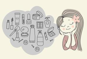 Frau träumt von Kosmetik. nettes Mädchen und alles für Schönheits- und Gesichtspflege - Wimperntusche, Schatten, Lippenstift und ein Rougepinsel, Schwämme und Creme, Spiegel und eine Haarspange. Vektor. Umriss Gekritzel. isoliert