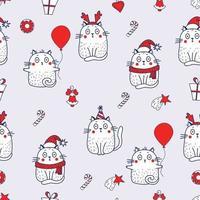 nahtlose Muster. festliche weiße Katzen mit einem Ballon, einem Hut mit Geweih, einer Weihnachtsmütze, in der Geburtstagskappe mit einer Weihnachtsdekoration - einem Stern und einer Glocke. Vektor auf einem grauen Hintergrund