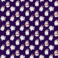 nahtlose Muster. weiße süße Katzen in einem Hut mit Geweih, in einer Weihnachtsmütze, in einem Schal auf blauem Hintergrund mit weißen Schneeflocken. Vektor. festliche Weihnachten und Neujahr Design und Dekor vektor