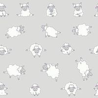 nahtlose Muster. Yoga für Tiere. Aufkleberzeichnungen von niedlichen weißen Schafen, die Meditation, stehende Asanas und Sport praktizieren. Vektor auf einem grauen Hintergrund. für Verpackungen, Textilien, Tapeten