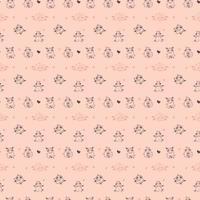 nahtlose Muster. Yoga für Nutztiere. verspielte süße Schafe treiben Sport, Meditation und Gymnastik. Vektor-Illustration Umriss auf einem rosa Hintergrund. für Textilien, Tapeten, Kinderkollektion vektor