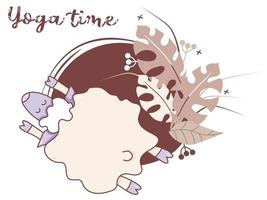 Yoga-Zeit. Ein süßes Lamm beschäftigt sich mit Yoga, liegt in einer Asana, Fitness und Hobbys. Yoga-Nutztiere - Schafe auf einem dekorativen Hintergrund mit tropischen Blättern und Dekor. Vektor. isoliert vektor
