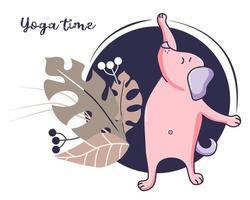 Yoga-Haustiere. Ein süßer Hund beschäftigt sich mit Fitness und Sport, streckt sich in einer Asana und verliert Gewicht. Vektor. Illustration auf einem blauen Hintergrund mit Dekor und tropischen Blättern. Yoga-Zeit und Hobby-Konzept vektor