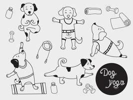 Yoga-Haustiere. süße Welpen stehen in einer Asana und treiben Sport. Hund Yoga - eine Reihe von Bildern. Gliederung. Vektorillustration vektor