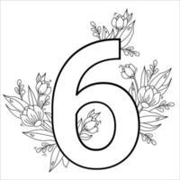 Blume Nummer sechs. dekoratives Muster 6 mit Blüten, Tulpen, Knospen und Blättern. Vektorillustration lokalisiert auf weißem Hintergrund. Linie, Umriss. für Grußkarten, Druck, Design und Dekoration vektor