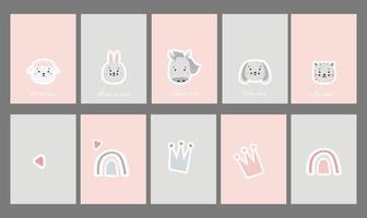 Kinderkartensammlung. Satz Postkarten mit niedlichen Haustieren und Phrasen. kreativer Druck mit Regenbogen und Krone, Säugetieren - Schaf und Pferd, Hase und Hund, Katze. Vektor für skandinavisches Design und Druck