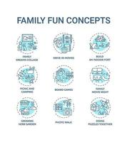 familj kul koncept ikoner set