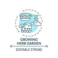 växande ört trädgård koncept ikon