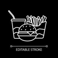 weiße lineare Ikone des amerikanischen Fastfoods für dunkles Thema vektor