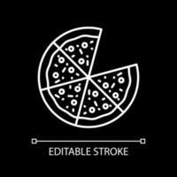Pizza mit Scheiben weiße lineare Ikone für dunkles Thema vektor
