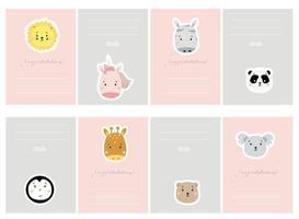 Kinderplaner mit niedlichen Tieren. Satz Grußkarten mit niedlichen Tieren. kreativer Druck mit Löwe und Einhorn, Giraffe und Zebra, Panda und Koala, Pinguin und Bär. Vektor für skandinavisches Kartendesign