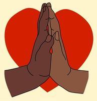två mörka händer på en bakgrund av ett rött hjärta. en kvinnlig handflata är fäst vid manspalmen. gester - ömhet och passion. kärlek och alla hjärtans dag. vektor illustration