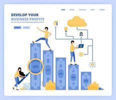 människor utvecklar affärer genom att söka mer vinst och använda teknik. planering och forskning om företag. kan användas för målsidesmall ui ux webb mobilapp affisch banner webbplats reklamblad vektor