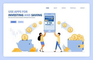 Menschen nutzen mobile Apps, um Geld in der bargeldlosen 4.0-Gesellschaft zu sparen und zu investieren. Das Vektorillustrationskonzept kann für Zielseite, Vorlage, Benutzeroberfläche, Web, mobile App, Poster, Banner, Website, Flyer verwendet werden vektor