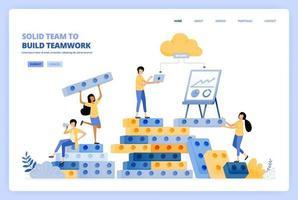 solide Teamarbeit beim Aufbau von Beziehungen. Brainstorming für den Build-Erfolg. Das Vektorillustrationskonzept kann für Zielseite, Vorlage, Benutzeroberfläche, Web, mobile App, Plakatwerbung, Banner, Website, Flyer verwendet werden vektor