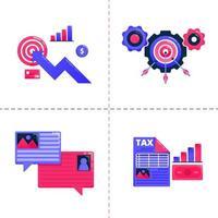 Logo-Design-Symbol des Geschäftsdiagramms, Bubble-Chat und Zielerreichung, Strategie zur Finanzsteueranalyse. Die Icon-Pack-Vorlage kann für Zielseite, Web, mobile App, Poster, Banner und Website verwendet werden vektor