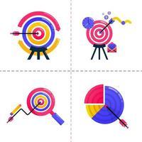 Icon Design von Finanzen, Business, Finanzen, Marketing-Analyse, Charts und Erreichen von Zielvorgaben. Die Icon-Pack-Vorlage kann für Zielseiten, Benutzeroberflächen, Websites, mobile Apps, Posteranzeigen, Banner und Websites verwendet werden vektor