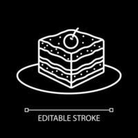 Kuchenstück weiße lineare Ikone für dunkles Thema vektor