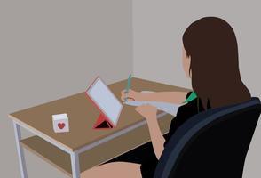 Frau im grünen Hemd sitzt auf schwarzem Bürorollstuhl vektor