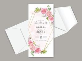 schöne Hochzeitseinladungskartenschablone mit Blumenhand gezeichnet vektor