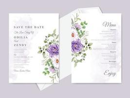 vacker blommig handritad mall för bröllopsinbjudan vektor