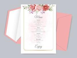 vacker blommig hand dras bröllop menyn kort mall vektor