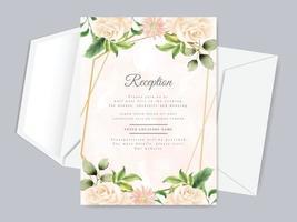 schöne Blumenhand gezeichnete Hochzeitsempfangskartenschablone vektor