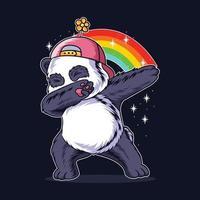 der tupfende Panda in einem blumigen Hut vektor